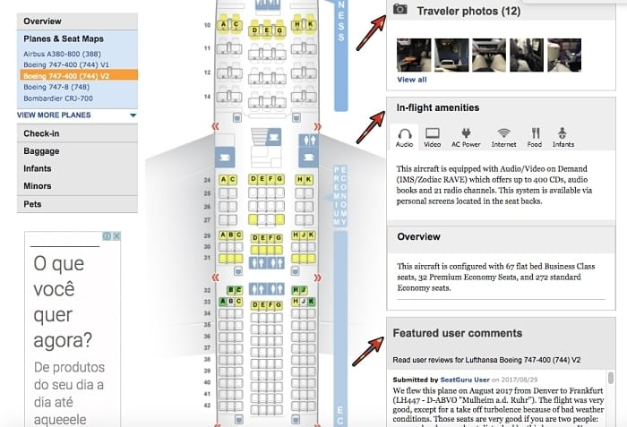 mellhor assento aviao seatguru - SeatGuru: como escolher o melhor assento do avião