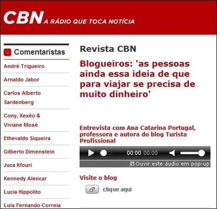 Rádio CBN - agosto de 2011