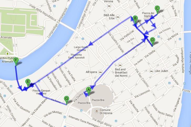Mapa Verona - Verona, Itália: roteiro de 1 dia na cidade de Romeu e Julieta
