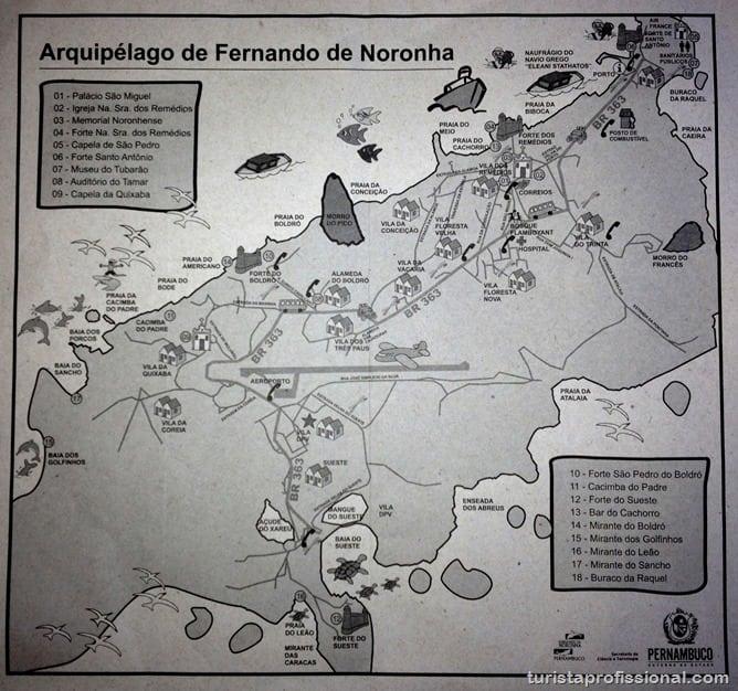 Mapa de Fernando de Noronha - O que fazer em Fernando de Noronha - Ilha Tour
