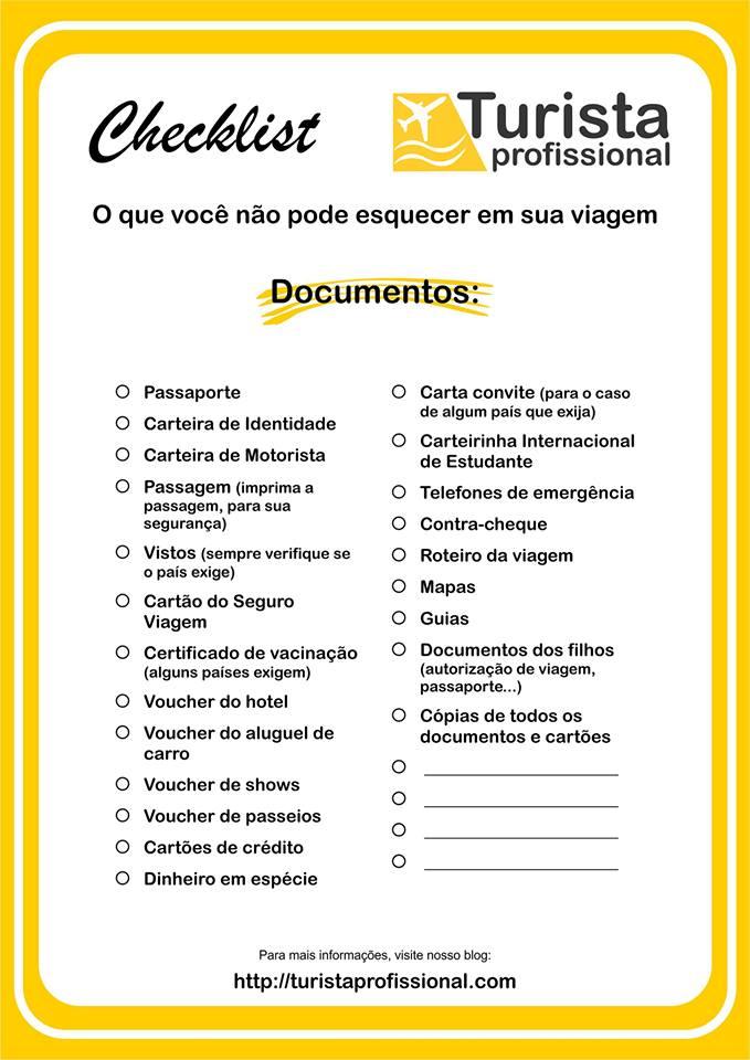 Checklist documentos de viagem1 - Dicas sobre documentos para viagem