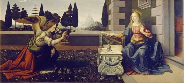 800px Leonardo da Vinci   Annunciazione   Google Art Project - Dicas para visitar a Galeria Uffizi em Florença (sem fila)