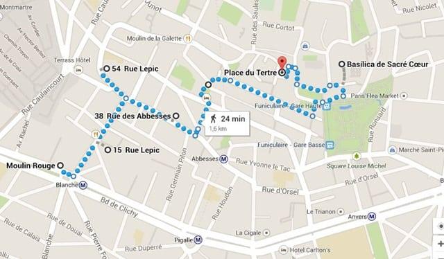 Roteiro de 2 dias em Paris - mapa
