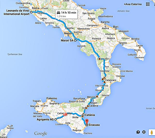 roteiro itália de carro - Roteiro de 10 dias pelo sul da Itália: Costa Amalfitana, Sicília e Roma