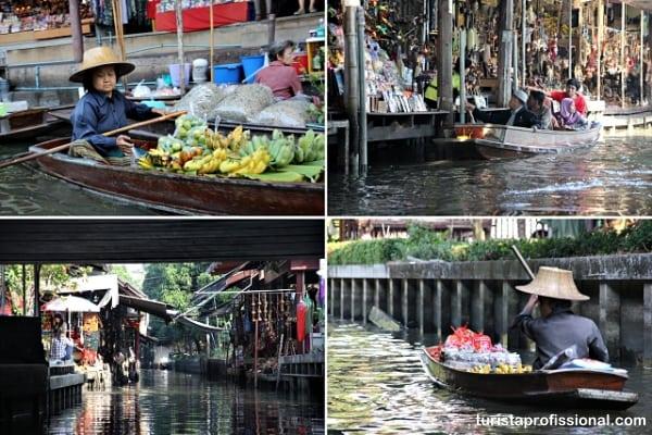 mercado flutuante na Tailândia