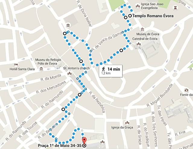 mapa do Roteiro de 1 dia em Évora