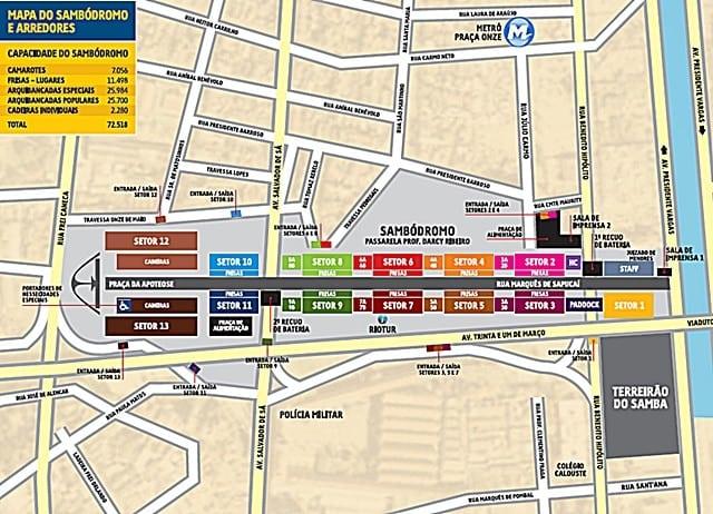 mapa sambodromo - Minha primeira vez no Desfile das Escolas de Samba do Rio