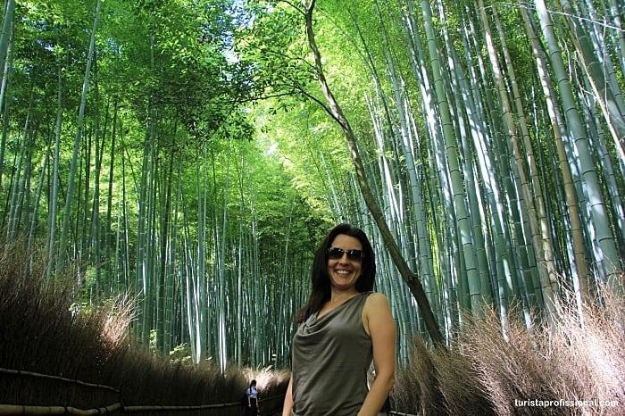 A floresta dos bambus em Quioto