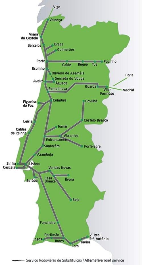 malha ferroviaria portugal 2 - Viagem de trem em Portugal: tudo o que você precisa saber!