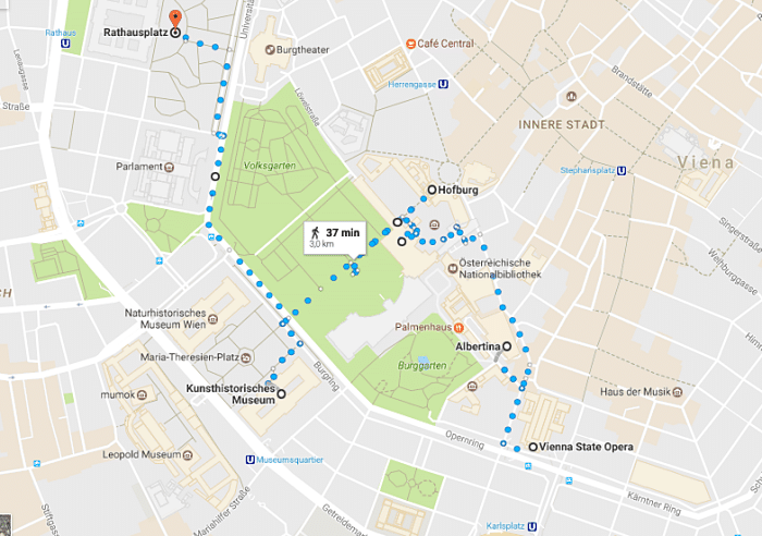 mapa roteiro Viena