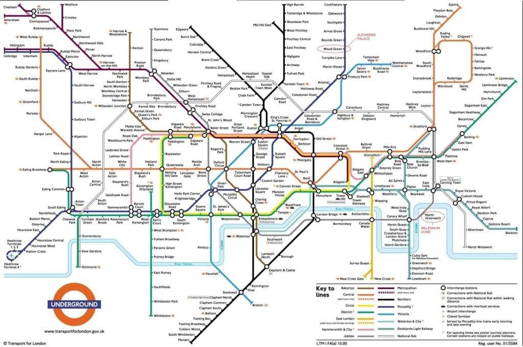 mapa metro de londres 1024x679 - Metrô de Londres: tudo o que você precisa saber para usá-lo!