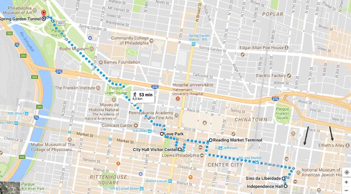mapa filadelfia - Roteiro de 1 dia na Filadélfia: como chegar e o que visitar
