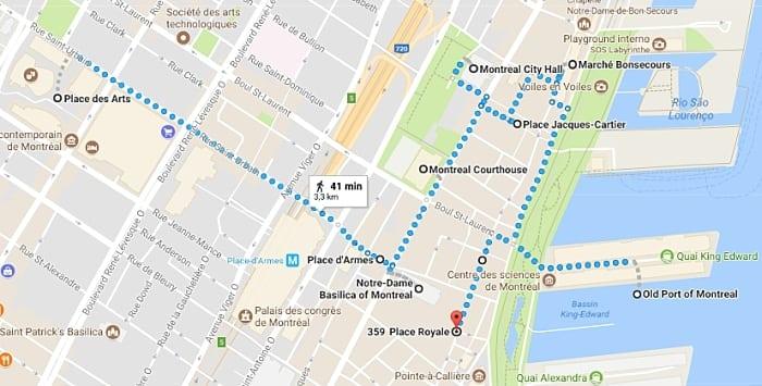 roteiro 3 dias Montreal - mapa