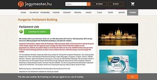 Como comprar ingresso para o Parlamento húngaro (on line)
