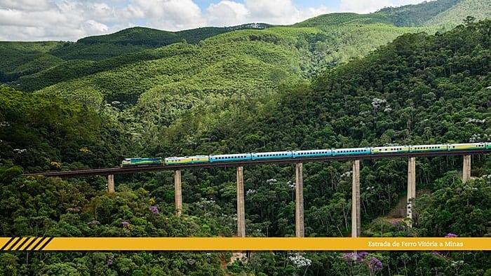 viagem de trem no Brasil