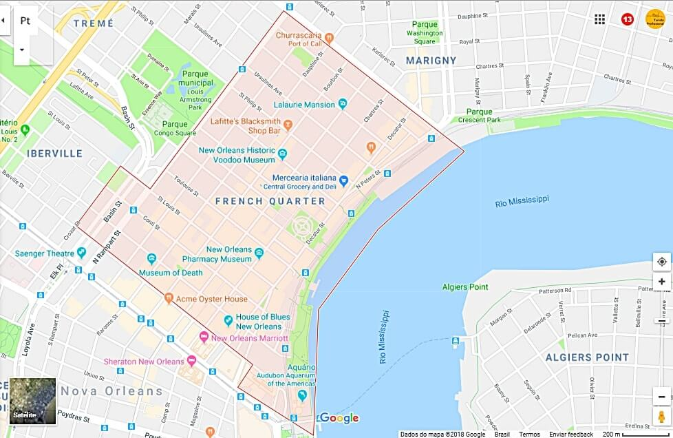 Mapa do French Quarter em Nova Orleans