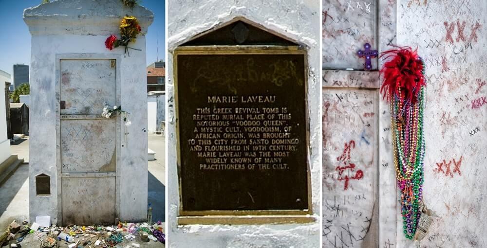 Detalhes do túmulo de Marie Laveau