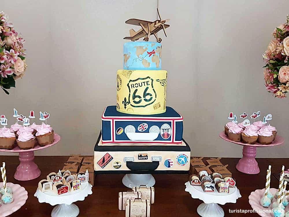 bolo tema viagem 1 - Tema viagem para decoração de festa infantil, que tal?!