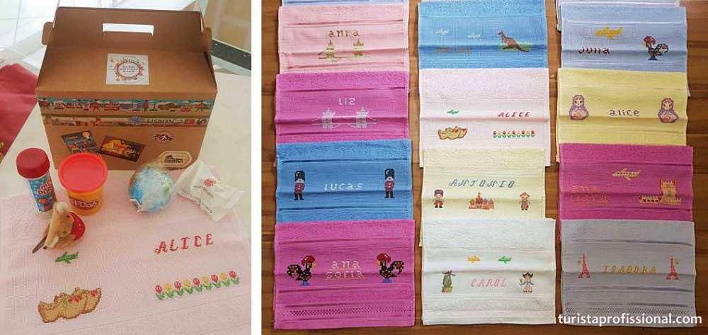 toalhinhas bordadas festa tema viagem