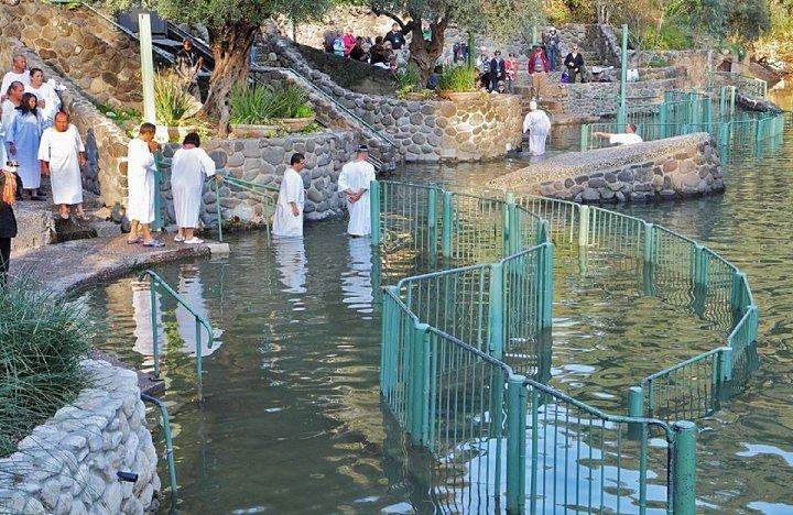 Batismo de Jesus em Israel 1 - Rio Jordão - visita ao local do batismo de Jesus