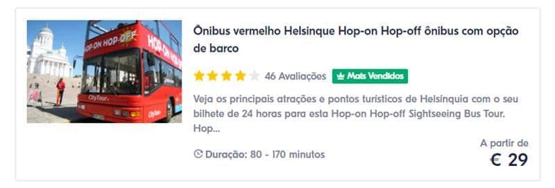 Ônibus Turístico Hop On Hop Off Helsinque