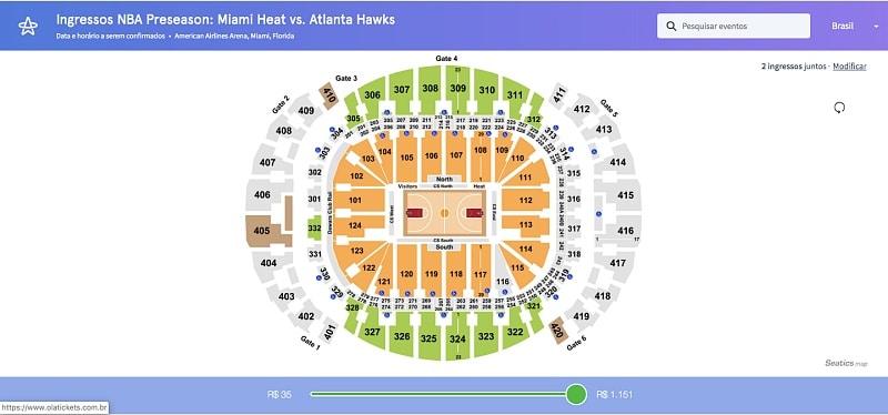 Mapa de ingressos para a NBA