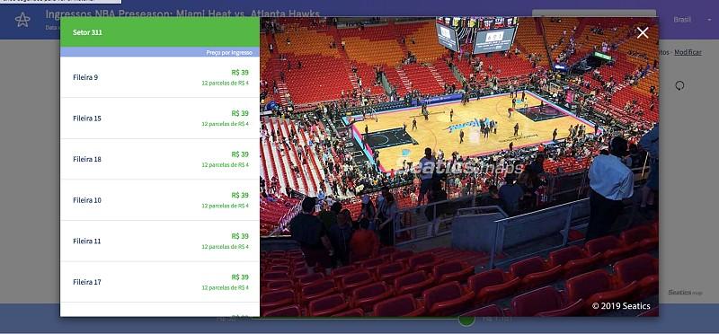 ingressos para jogos da NBA