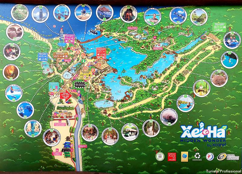 mapa xel ha riviera maya - Parque Xel-Há, em Cancun