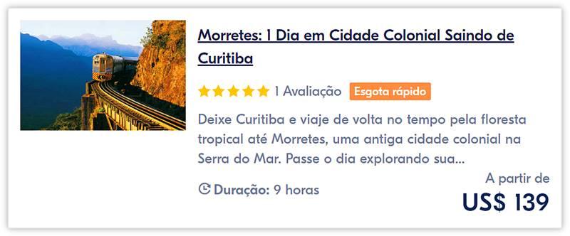 excursao de trem em morretes e curitiba - Passeio de trem de Curitiba a Morretes, Paraná