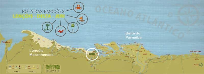 mapa delta do parnaiba 1 - Rota das Emoções: roteiro completo de uma viagem dos sonhos