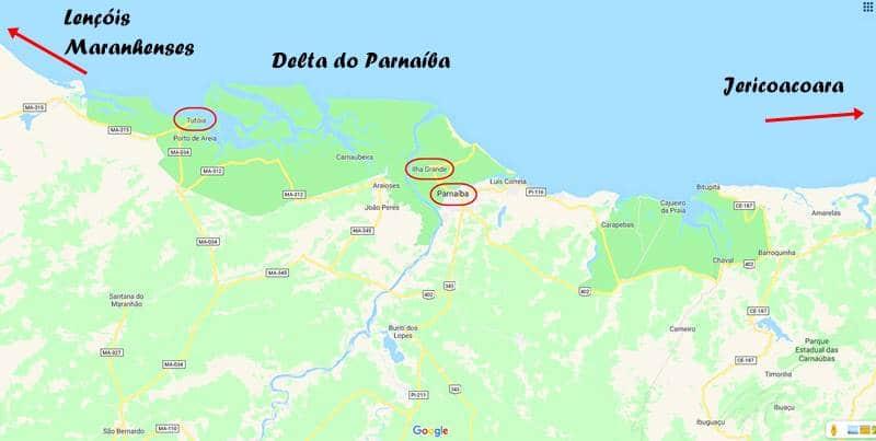 mapa do Delta do Parnaiba - Delta do Parnaíba: passeio de barco e revoada dos guarás