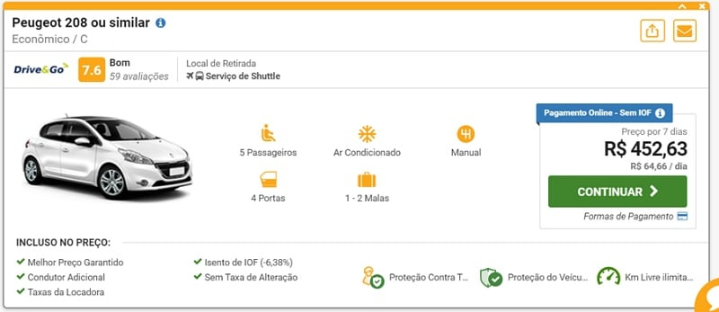 preco de carro alugado em Portugal - Aluguel de carro em Portugal