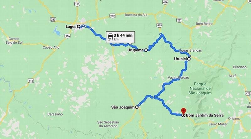 Mapa Serra Catarinense - Serra de Santa Catarina: principais atrações, dicas e roteiro