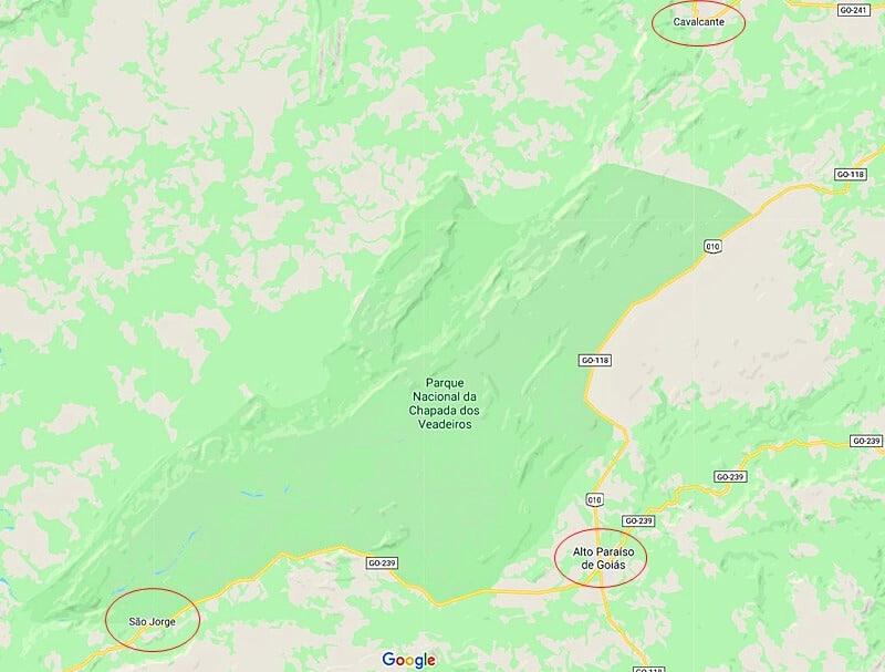 mapa da chapada dos veadeiros - Chapada dos Veadeiros: cachoeiras