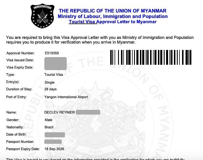 como tirar o visto para Myanmar