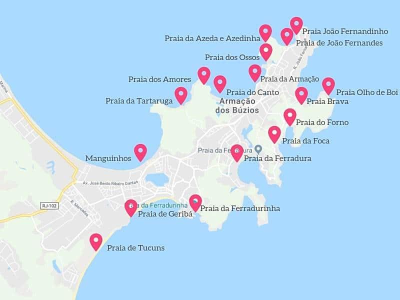 mapa praias buzios - Região dos Lagos, RJ: dicas de viagem